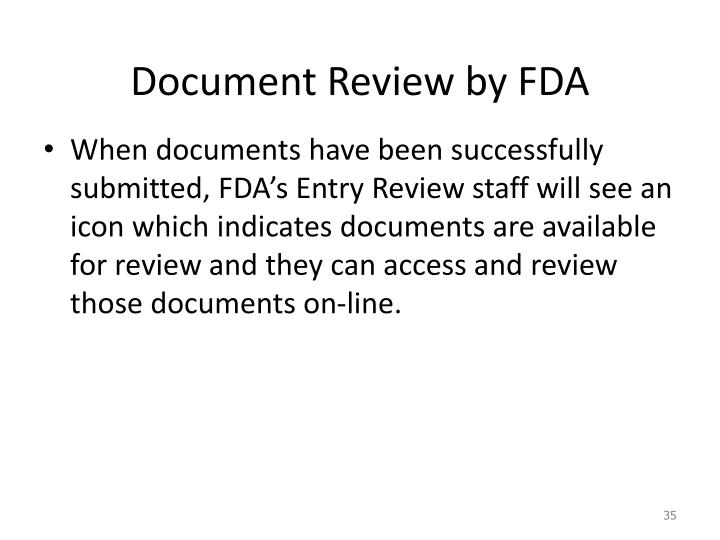 Document Review by FDA