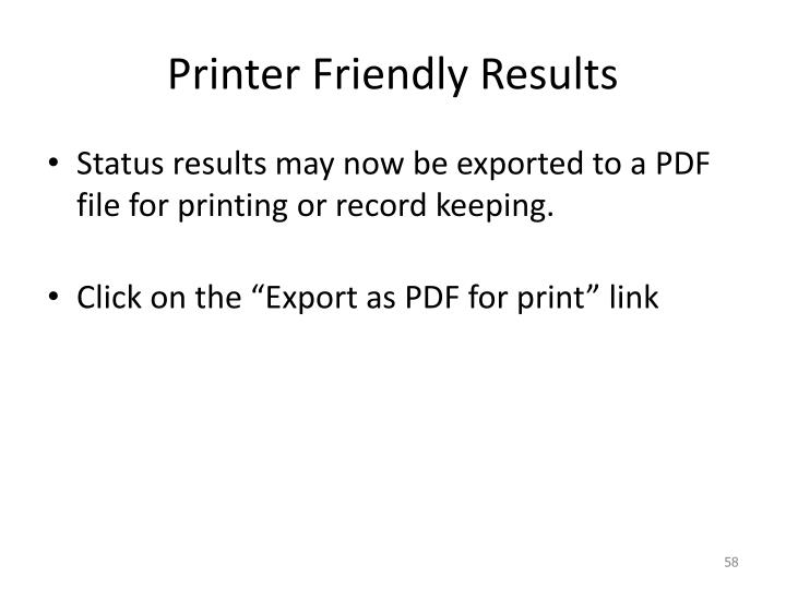 Printer Friendly Results