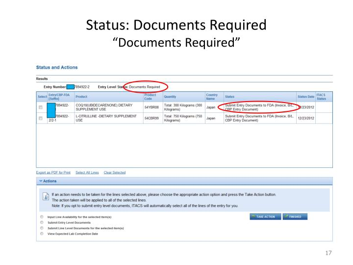 Status: Documents Required