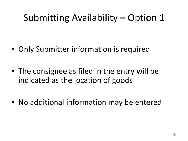 Submitting Availability – Option 1
