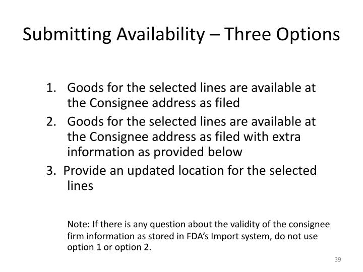Submitting Availability – Three Options
