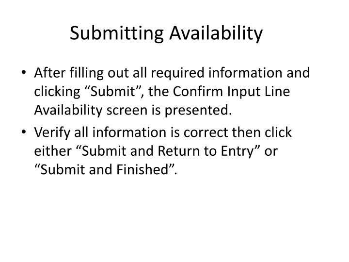 Submitting Availability