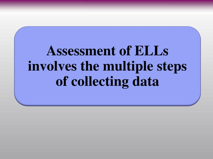 Assessment of ELLs involves the multiple steps of collecting data