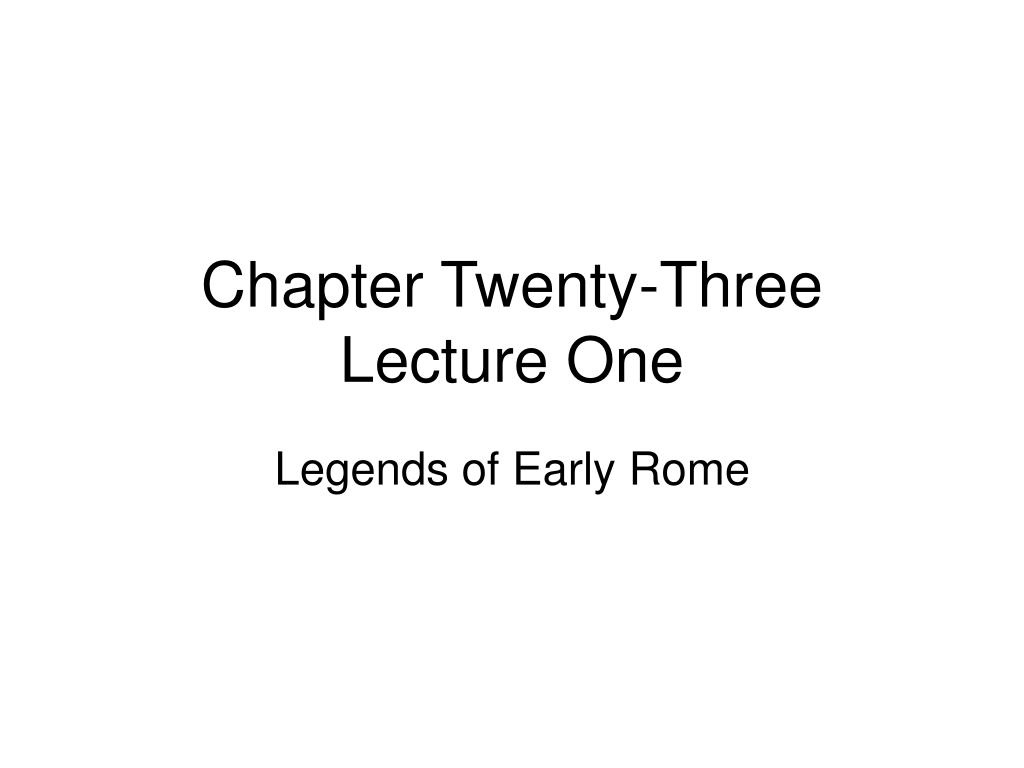 chapter twenty three lecture one l.