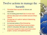 twelve actions to manage the hazards