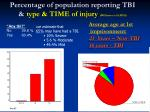 percentage of population reporting tbi type time of injury williams et al 2010