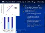 theory of mind complex critical age of injury