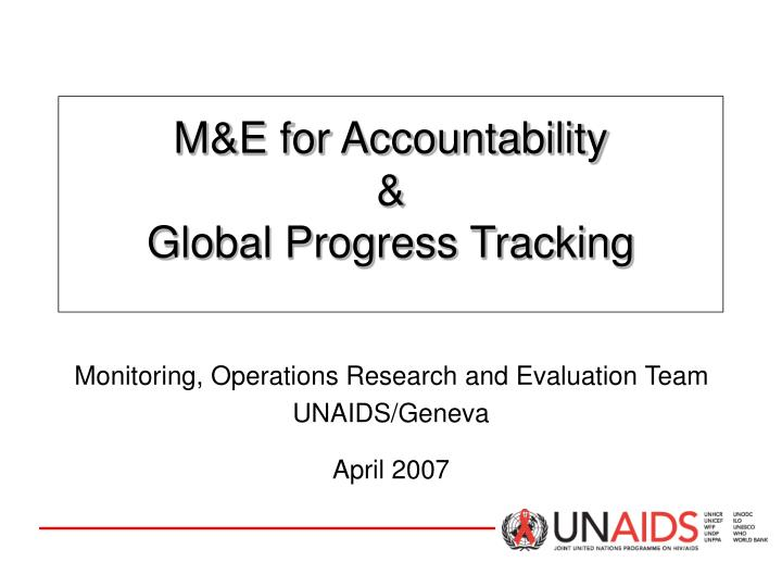 m e for accountability global progress tracking n.