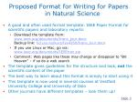 proposed format for writing for papers in natural science