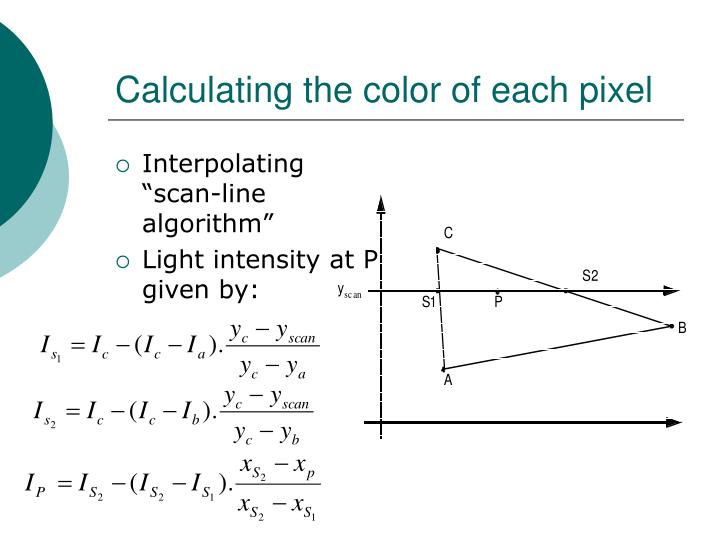 Calculating the color of each pixel