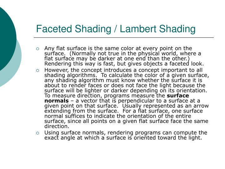 Faceted Shading / Lambert Shading