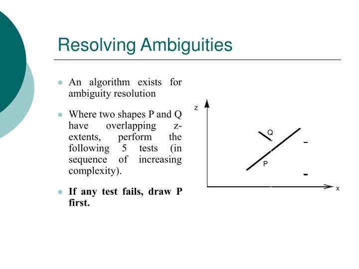 Resolving Ambiguities