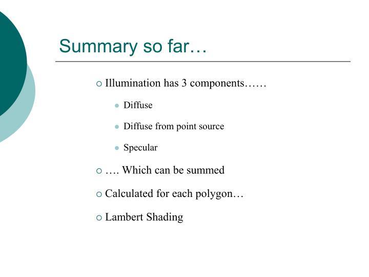 Summary so far…