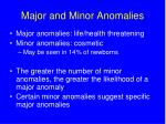 major and minor anomalies