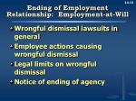ending of employment relationship employment at will
