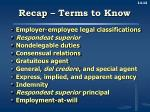 recap terms to know