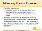 addressing criminal exposure1