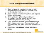 crisis management mistakes