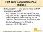 fda sec cooperation post imclone