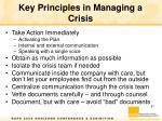 key principles in managing a crisis