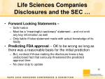 life sciences companies disclosures and the sec1