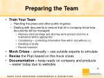 preparing the team