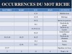 occurrences du mot riche