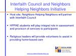 interfaith council and neighbors helping neighbors initiative
