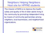 neighbors helping neighbors host site for hppae students