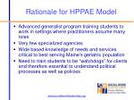 rationale for hppae model