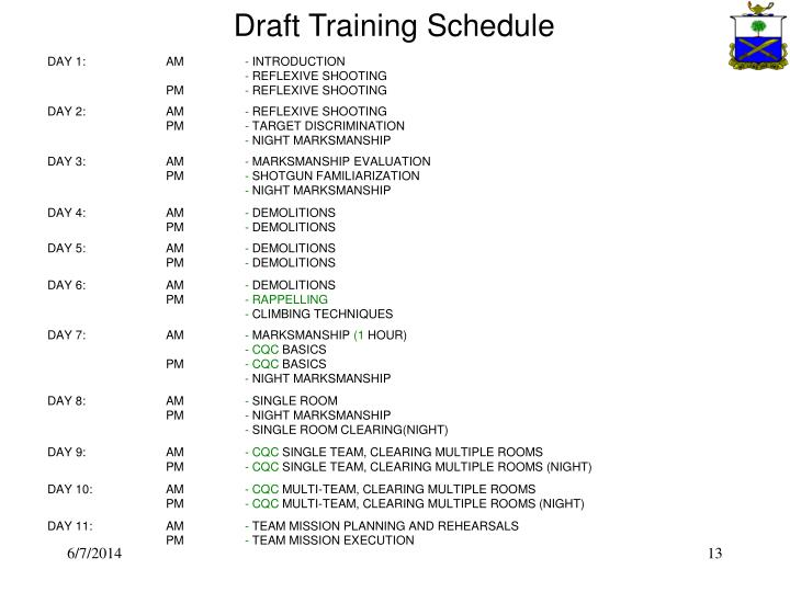 Draft Training Schedule