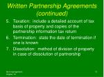 written partnership agreements continued