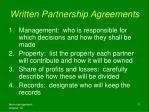 written partnership agreements
