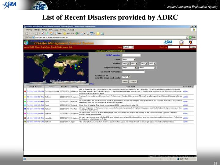 List of Recent Disasters provided by ADRC