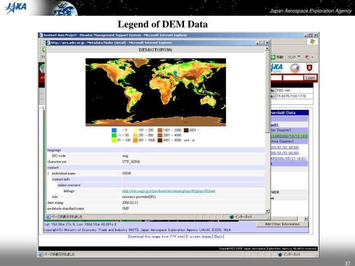 Legend of DEM Data