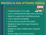 barriers to use of family history