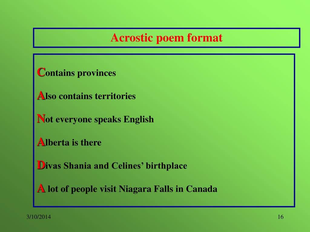 Acrostic poem format
