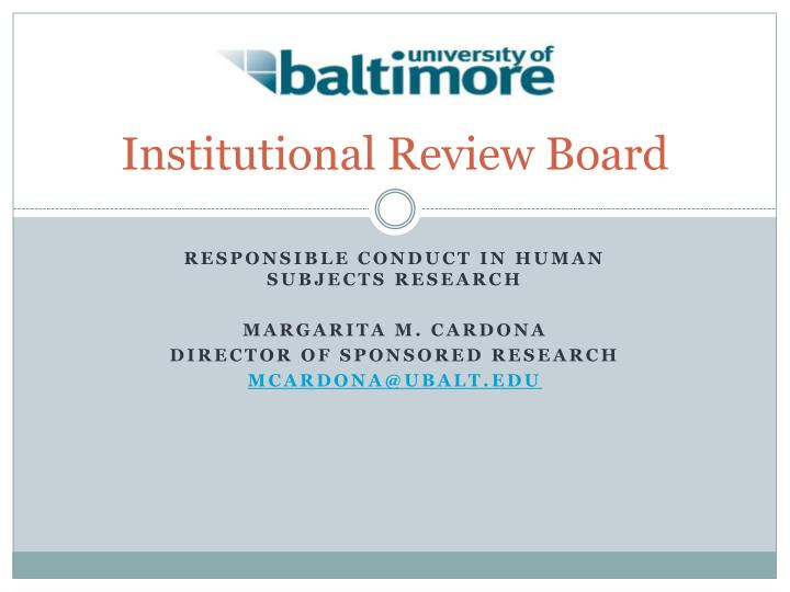 institutional review board n.