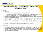 achievements electricity industry regulation 1