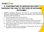 ii contribution to service delivery through the link to the twelve national outcomes