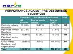 performance against pre determined objectives