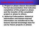 close project or phase outputs2