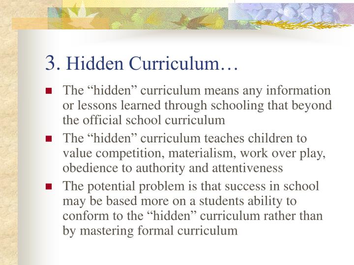 the effects of the hidden curriculum in peggy orensteins school girls By: rebekah miller e-mail: in the book school girls by peggy orenstein, the focus is on young adolescent girls in middle school, and the effects that the hidden curriculum and other elements have on their self esteem.
