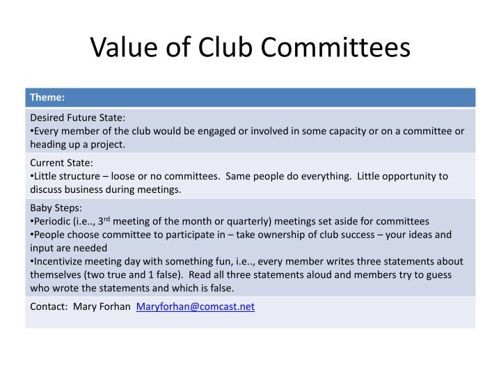 Value of Club Committees