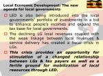local economic development the new agenda for local governments