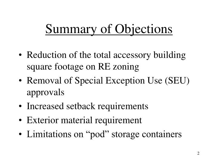 Summary of objections