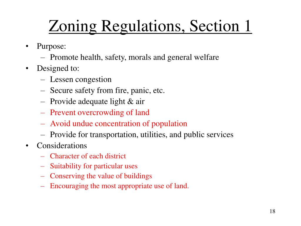 Zoning Regulations, Section 1
