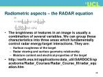 radiometric aspects the radar equation