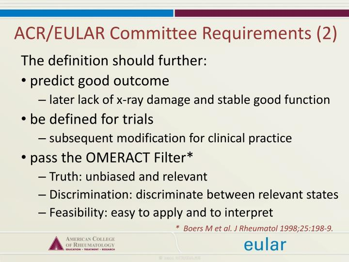 ACR/EULAR Committee Requirements (2)
