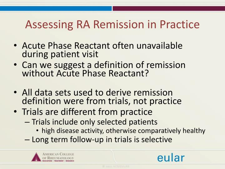 Assessing RA Remission in Practice